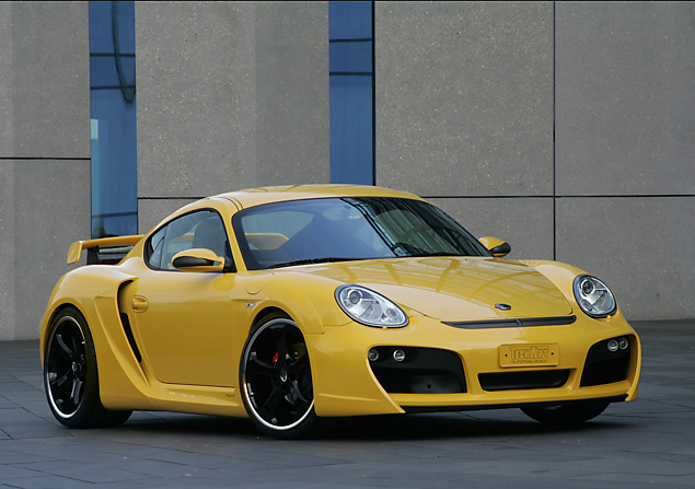 2007-techart-widebody-based-on-porsche-cayman-s-front-and-side-yellow1